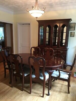Queen Anne Cherry Dining Room Set (table, chairs, hutch, buffet cabinet)