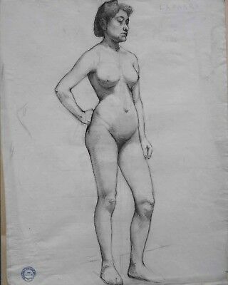 Academic  Drawing of an Nude Model Woman by Bouguereau Student William Laparra