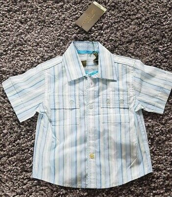 Baby Boy's Ted Baker Short Sleeve White & Blue Casual Shirt BNWT RRP £18