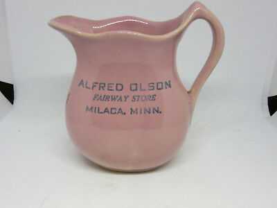 Rose Mead Pottery  Milaca Minnesota Pitcher Pink Alfred Olson Fairway Store Old