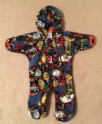 c3ac2f76fd73 PATAGONIA FLEECE BABY Bunting Snowsuit Zoo animals Size 6 Months ...