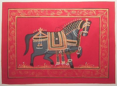 Indian Miniature / Horse / Hand Painted on Cloth (see details)(M138)