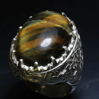 21.32 cts Tiger s Eye cabochon 18x24 mm sterling silver 925 ring