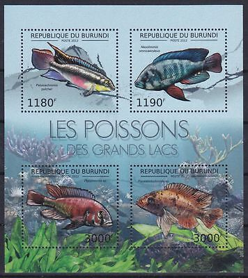 Burundi Mi-Nr. 2778 - 2781 KB / Sheet **, Fische / Fishes / Poissons (10 ME)