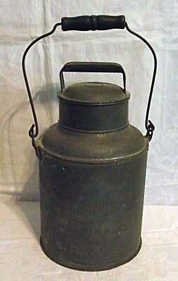 Antique Primitive Tin Metal Dairy Milk Cream Can W/Lid Bail & Wood Handle NICE