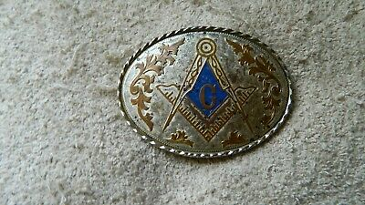 VINTAGE MASONIC EMBLEM OVAL BELT BUCKLE 3&1/2 x 2&1/2 IN PRE-OWNED FREE SHIP USA