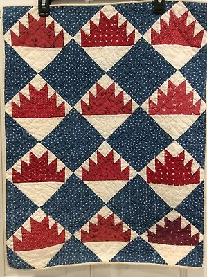 Vintage Red White Blue Table Wall Quilt 19 x 25