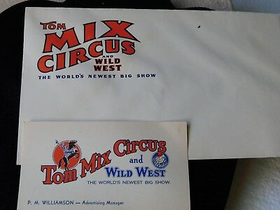 Vintage Original TOM MIX CIRCUS and WILD WEST Show Business Card and Envelope