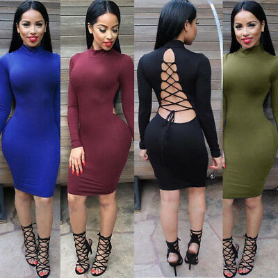 3a88f18148dc Womens Sexy Long Sleeve Cut-Out Backless Bandage Bodycon Club Party Midi  Dress