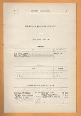 MEADEVILLE TRACTION COMPANY  1906 trolley streetcar report Crawford County PA