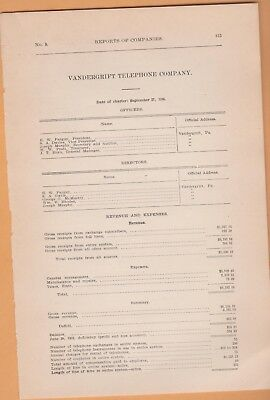 1908 annual report VANDERGRIFT TELEPHONE COMPANY Westmoreland County PA