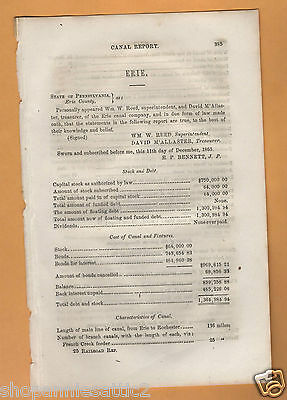 1865 Pennsylvania ERIE CANAL COMPANY report Erie PA to Rochester antique paper