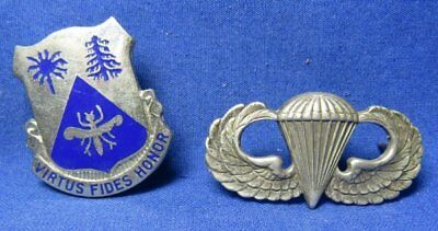 WWII 518th Infantry Regiment DI Pin & Sterling Airborne Jump Wings Badge