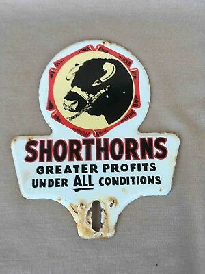 Vintage Farm Shorthorn Cattle Breed Advertising License Plate Topper Cow