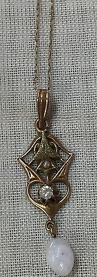 ANTIQUE VictorIan 10K GOLD DIAMOND &  PEARL LAVALIER PENDANT NECKLACE GORGEOUS.