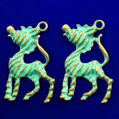 2Pcs Carved Brass Bronze Horse Pendant Bead39x24x3mm L93660