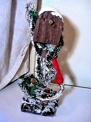 """Antique Vintage Rustic Primitive Christmas Card Mailbox With Red Robin Snow 16"""""""