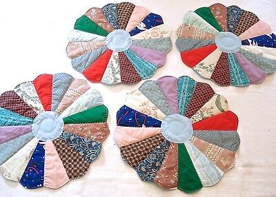 Vintage Quilted Placemats Table Pads Hand Crafted Set of 4