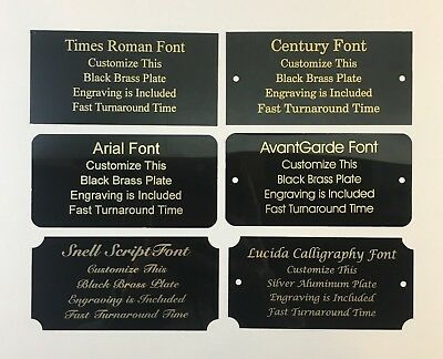 2x4 Laser Engraved Black Brass Plate Custom Personalized Plaque Trophy Sign