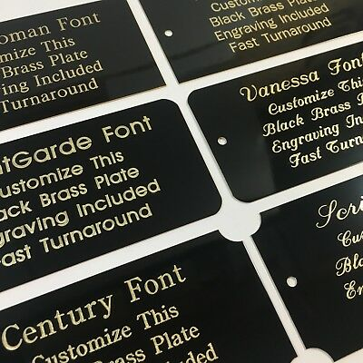 2x4  Engraved Solid Black Brass Plate Custom Personalized Plaque Trophy Sign