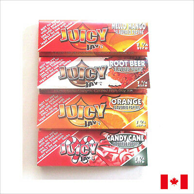 Juicy Jay's 1 1/4 Size Flavored Rolling Papers 4 Pack Bundle