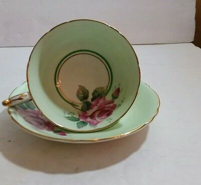 Paragon Mint Green Tea Cup and Saucer with Roses