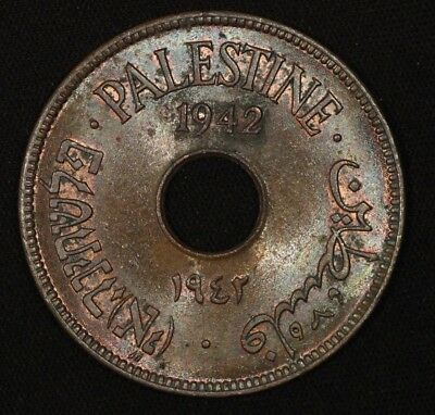 PALESTINE 10 Mils 1942 KM-4 Almost Uncirculated A.Unc
