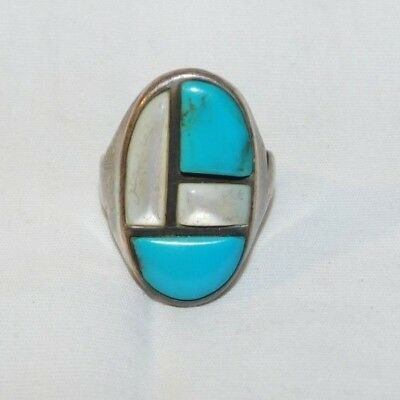 Awesome old Sterling Silver Silver Turquoise and Abalone Mans Ring