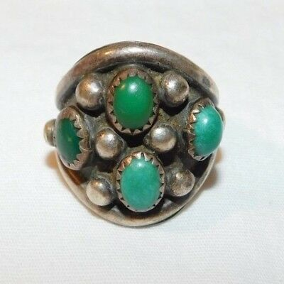 Awesome old Sterling Silver Silver J Yazzie Pawn Jewelry Turquoise Mans Ring