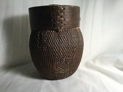 Early Antique Chinese Woven Willow Basket Bent Round Mouth Signed