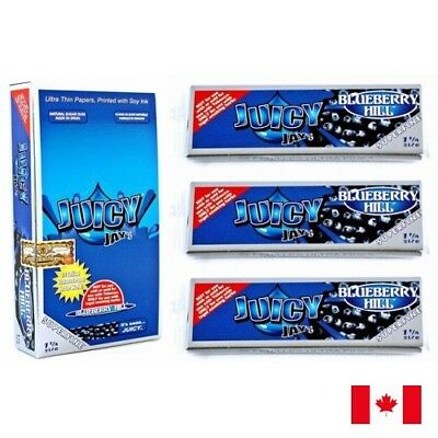 Juicy Jay's SUPERFINE 1 1/4 Blueberry Hill Flavored Rolling Papers 3 Packs