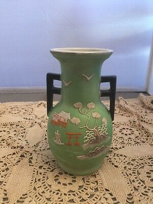 Antique Heavy Moriage Vase Japanese Hotta Yu Shoten 1920s