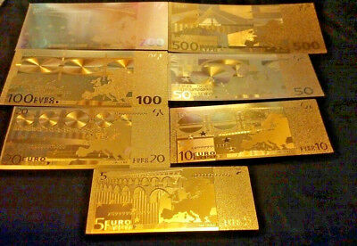 <20 PC. LOT>GOLD BANKNOTES 7-EURO/7 U.S AND 3 SILVER/2COINS/1JADE°xxx