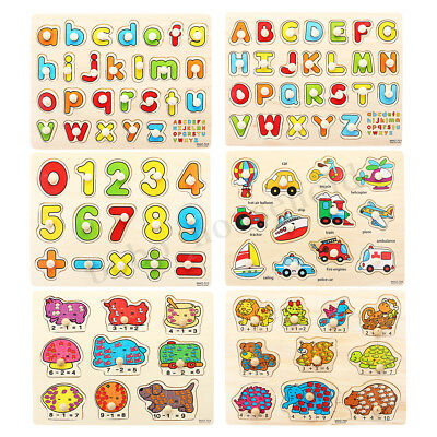 Kids Jigsaw Puzzle Baby Alphabet Letters Animal Wooden Learning Educational Toys