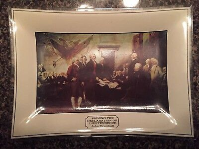 1975 Bicentennial Dinner Declaration Of Independence Ashtray Glass Collector War