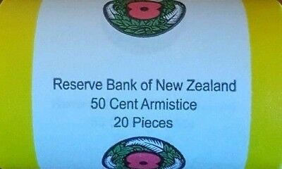 2018 New Zealand 50c Armistice Coloured Mint Coin Roll  - Low Mintage.