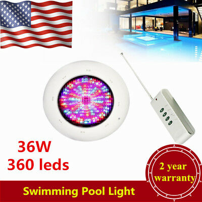 360 LEDs RGB Underwater Swimming Pool Light Spa Lamp 36W IP68+Remote Control USA