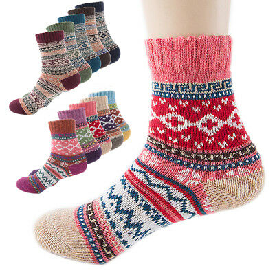 5Pack Womens Vintage Winter Soft Warm Thick Cold Knit Wool Crew Socks, US (5-9)