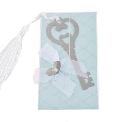 Stainless Steel 1Pcs Silver Key Shape Bookmark with Tassel Delicate Wedding Gift
