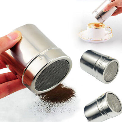 1x Stainless Steel Chocolate Shaker Cocoa Flour Powder Icing Coffee Latte Sifter