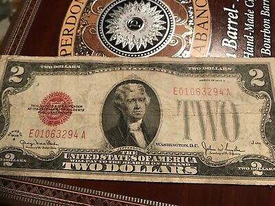 1928-G Series $2 Two Dollar Red Seal Note Bill Us Currency
