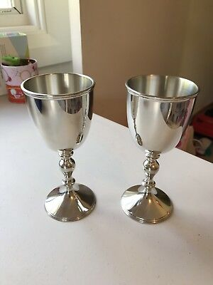 Set of 2 Selangor Pewter Goblets  Elegant Simple Style