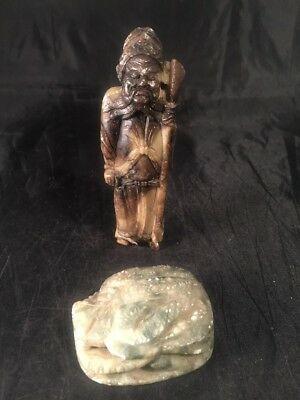 Vintage Antique ? Chinese Japanese Oriental Carved Soapstone Figure Elder Insect