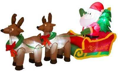 Glitzhome 6.89 ft. L Lighted Inflatable Santa Sleigh Decor