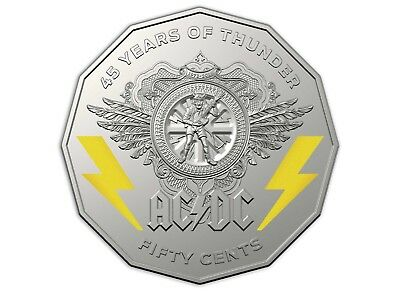 2018 AC/DC AC DC 45 Years of Thunder 50c Coloured Uncirculated Coin R Aust MINT