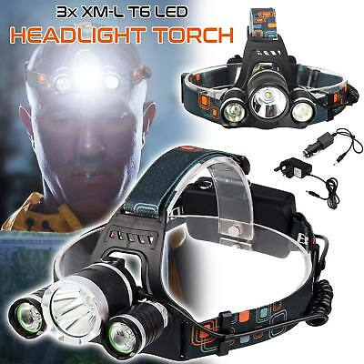 12000LM 18650 CREE T6 LED Rechargeable Battery Head Torch Headlamp Lamp Light UK