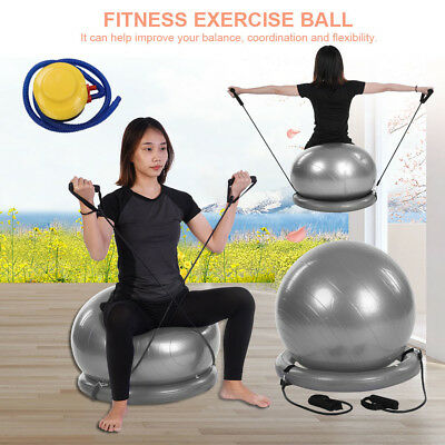 SWISS BALL YOGA HOME GYM EXERCISE PILATES FITNESS BALL W/ BASE PUMP Band 49CM