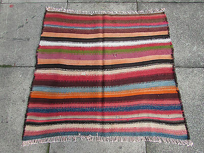 Kilim Old Traditional Hand Made Persian Oriental Wool Pink Red Kilim 100x95cm