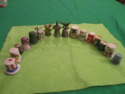 Lot of 11 Vintage Collectible Thimbles Ceramic Porcelain Wood Steel