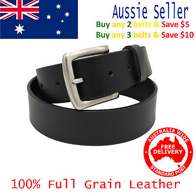 35mm Full Grain Cowhide Plain Black / Brown Mens Leather Belt